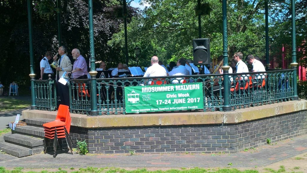 Bands in the Park performing on Malvern's bandstand in Priory Park