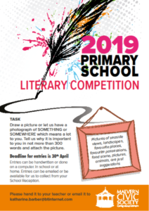 Malvern Civic Society's Literary Competition Primary Schools 2019