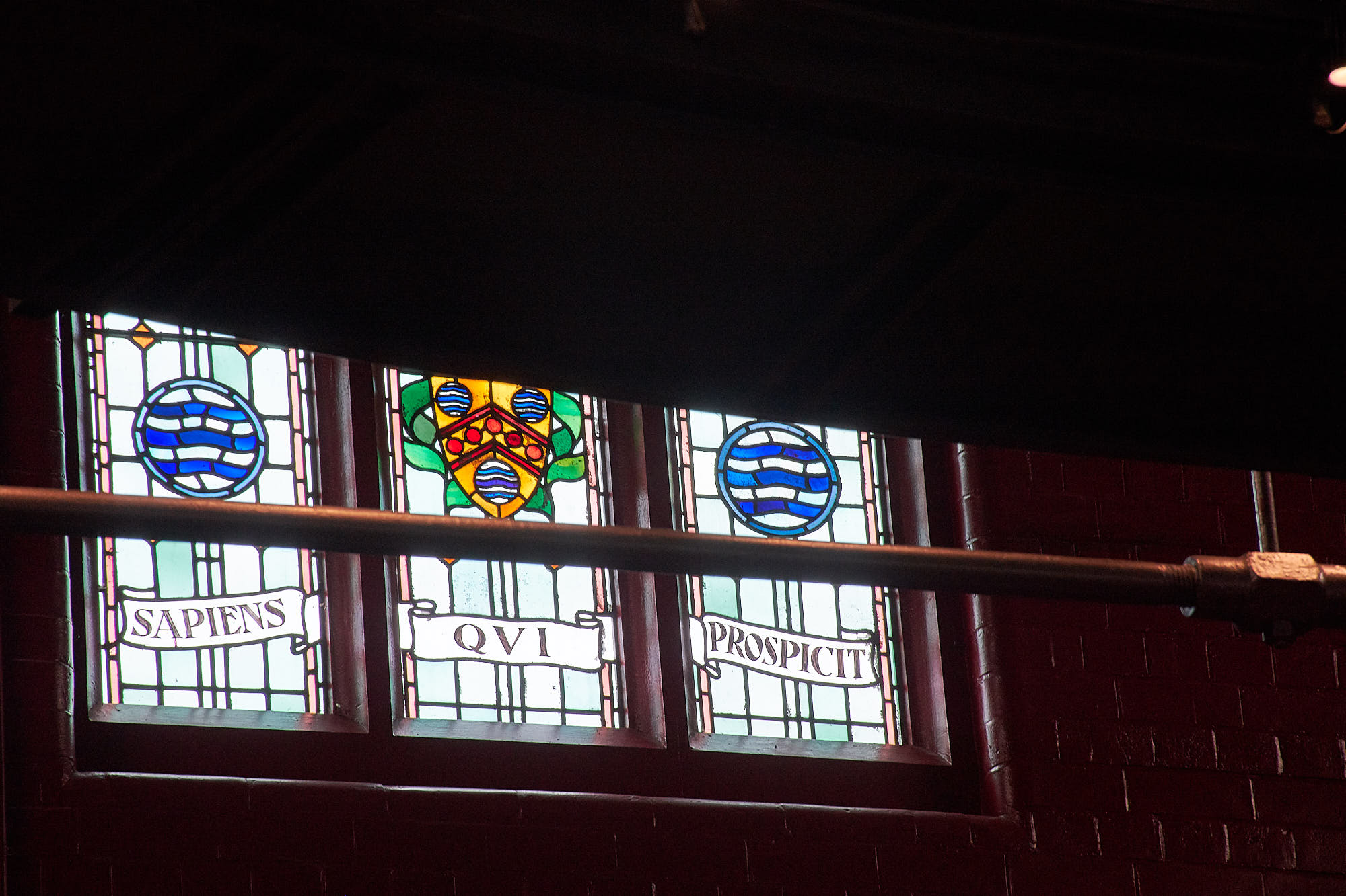 Image of stained Glass windows in the Rogers Theatre