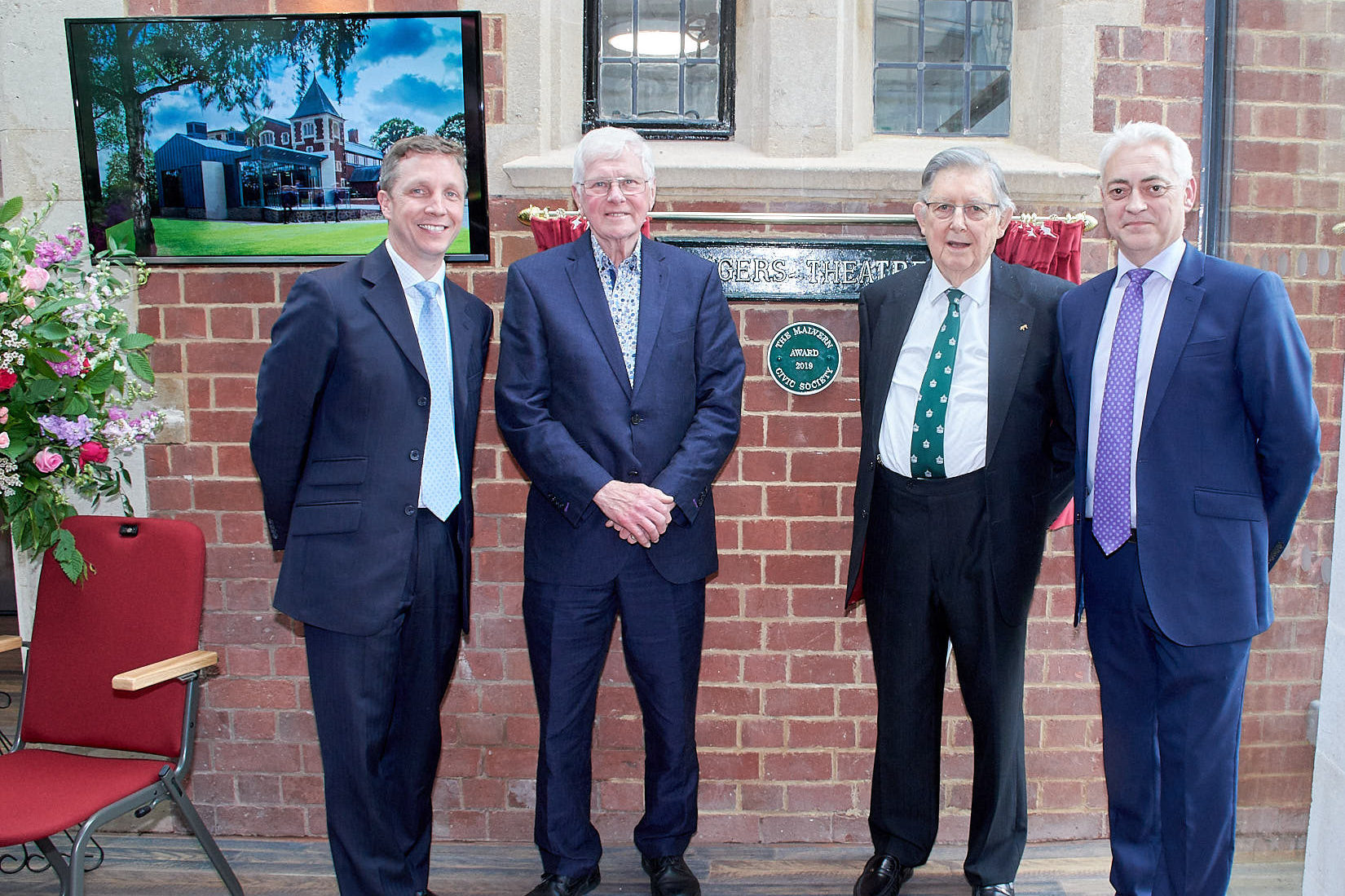 Civic Award Plaque With Keith Metcalfe - Headmaster, John Dixon - Civic Society Awards Committee, Dr John Harcup - Civic Society President and Mr Packham - Head of Drama