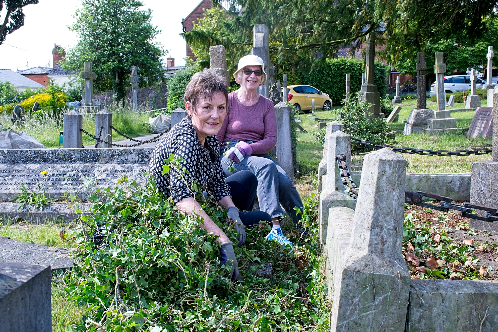 Clearing ivy around gravestones