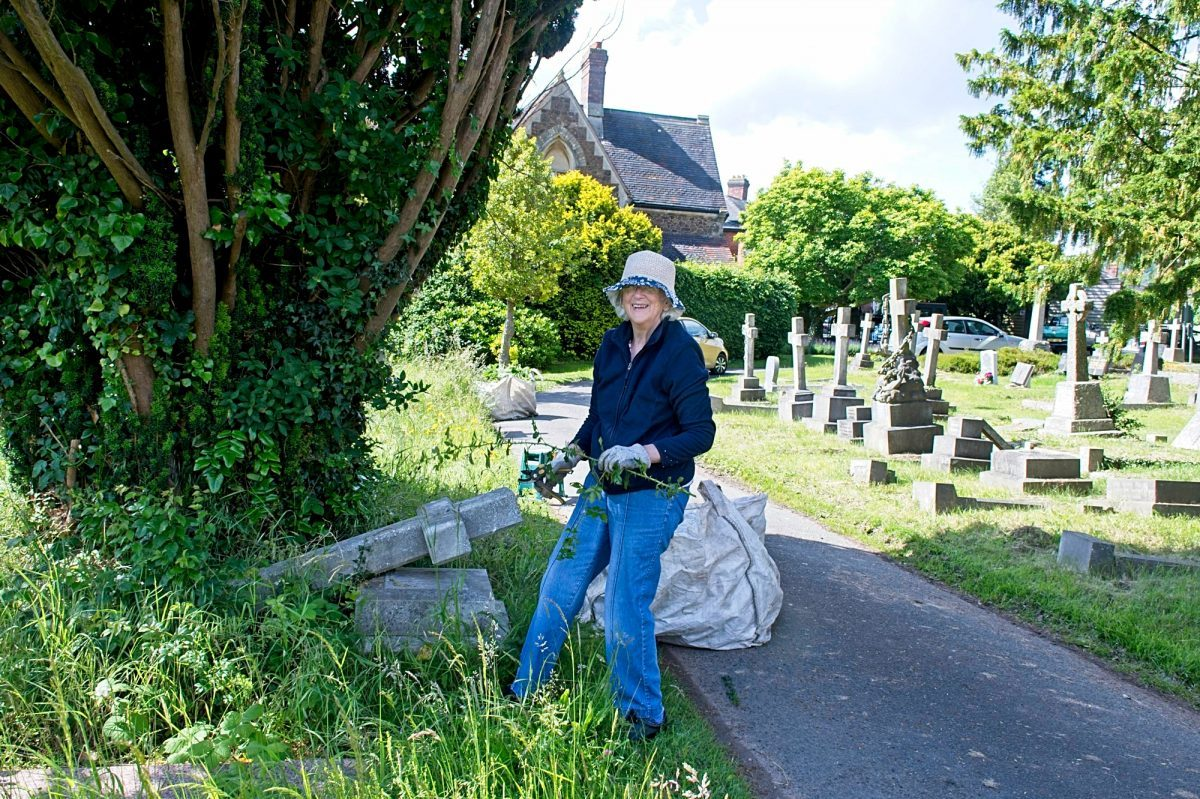 Clearing ivy and bramble from gravestones