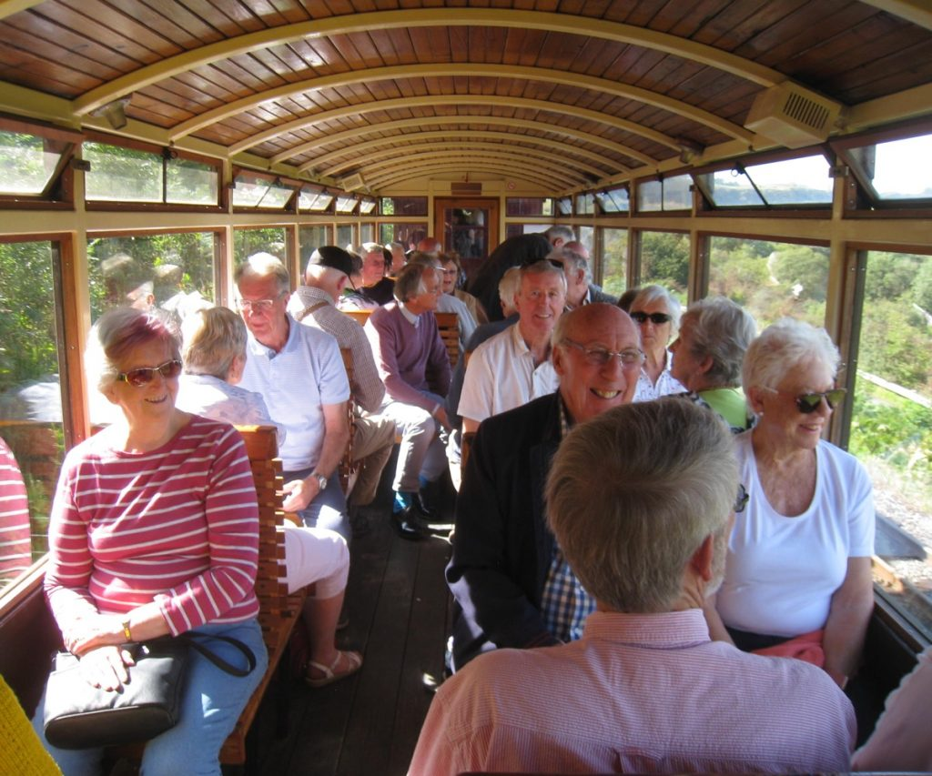 Malvern Civic Society Group on board a train at the Brecon Mountain Railway