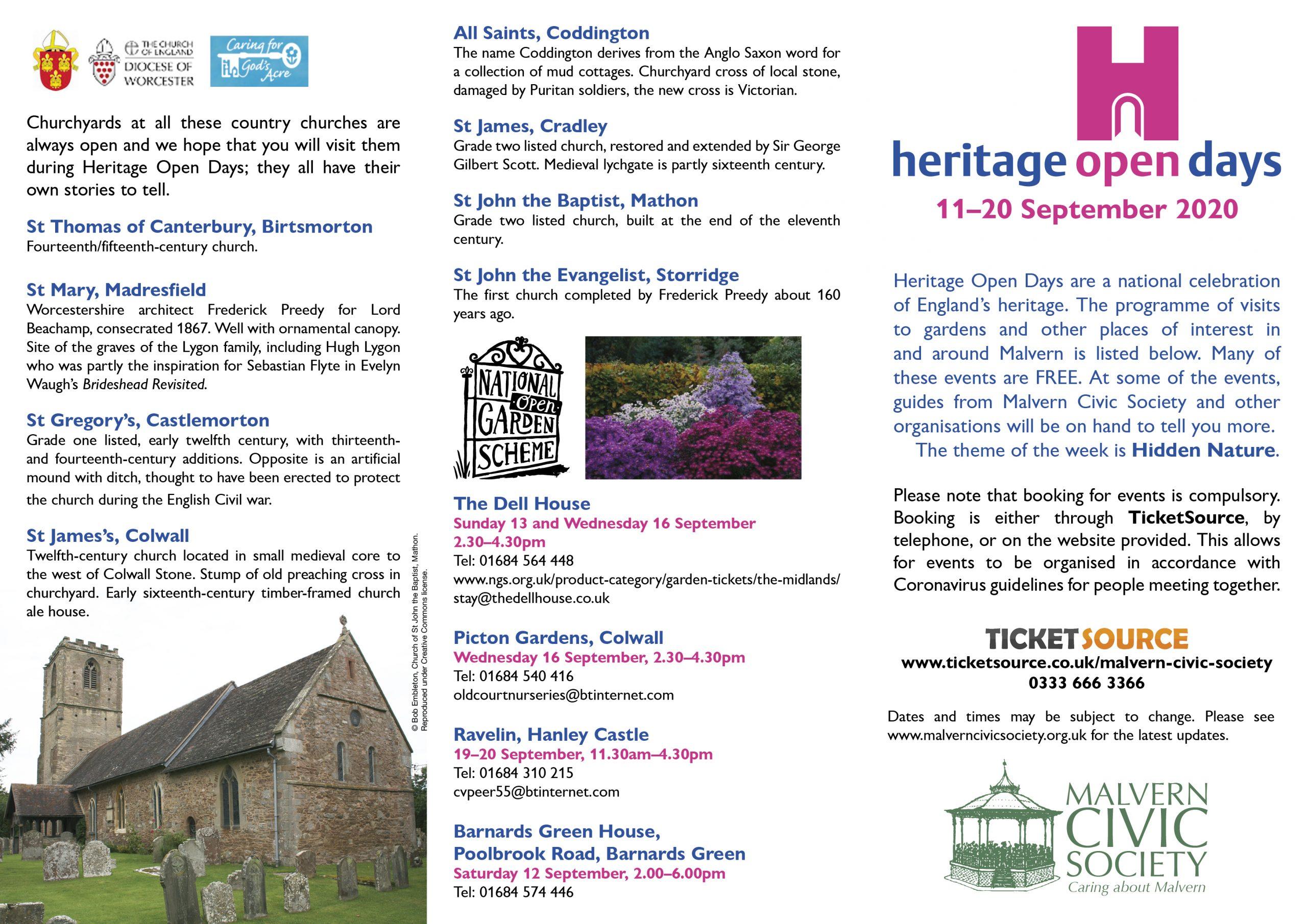 Heritage Open Days Leaflet