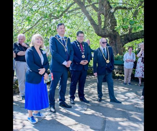 Local MP, Harriet Baldwin with the three Mayors