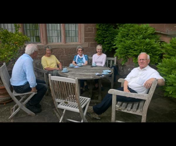 Enjoying tea at Weston Hall Gardens